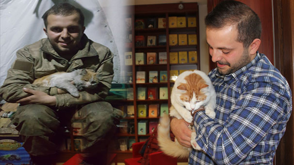 Elbab'da bulduğu kedi ''Barış''ı ilk kez ziyaret etti
