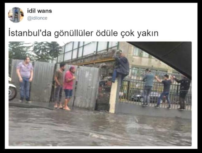 İstanbul'u sel vurdu, sosyal medya yıkıldı !