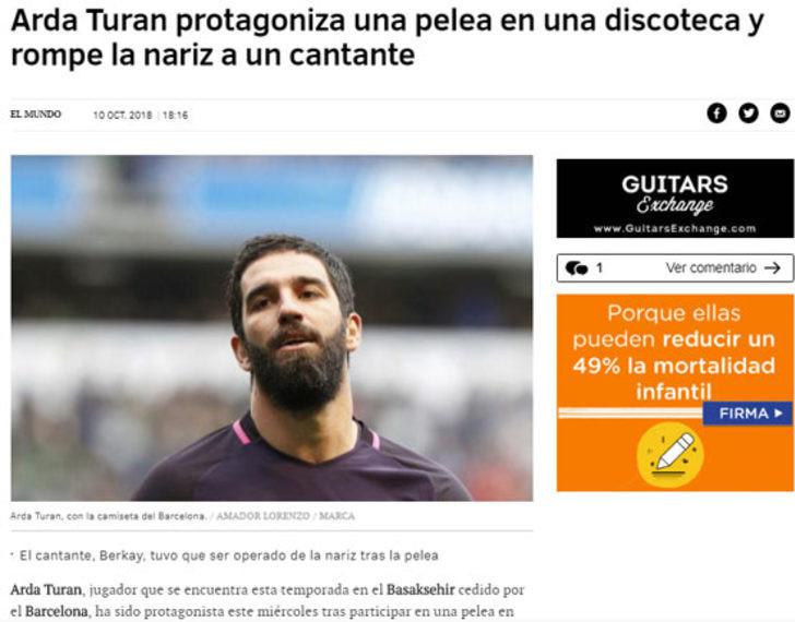 Arda Turan skandalı dünya basınında !