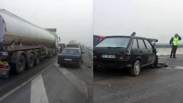 Feci kaza ! 17 araç birbirine girdi: Çok sayıda yaralı var