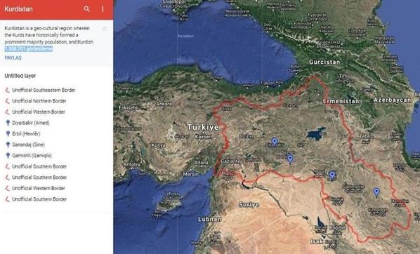 Google'a Kürdistan haritası için karşı başvuru
