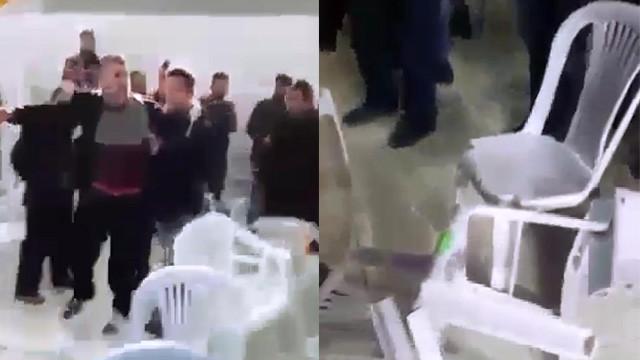 AK Parti kongresinde sandalyeler havada uçuştu