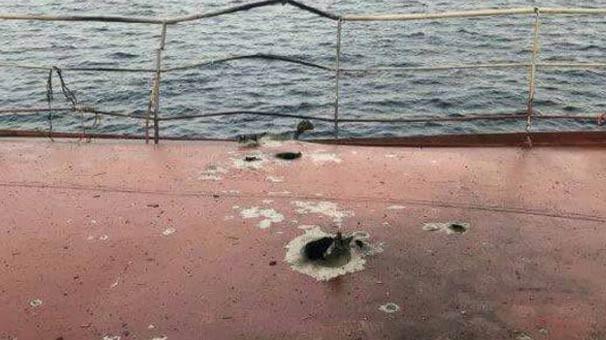 İşte saldırıya uğrayan Türk gemisi'nden ilk görüntüler