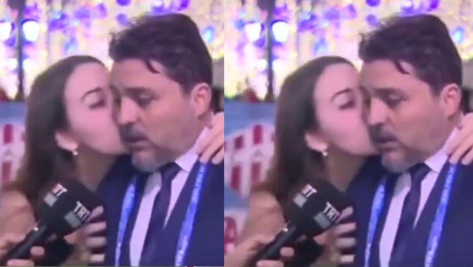 TRT ekibine canlı yayında öpücük şoku !