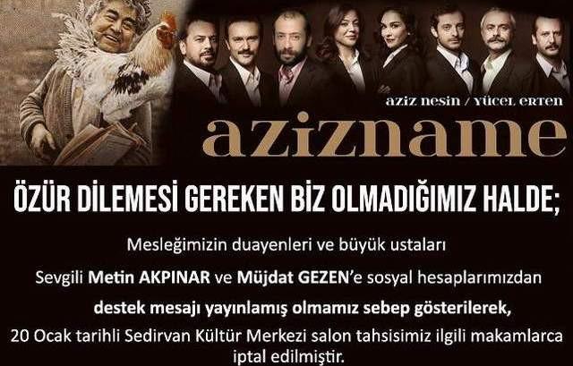 Sen misin Müjdat Gezen ile Metin Akpınar'a destek veren cezası !