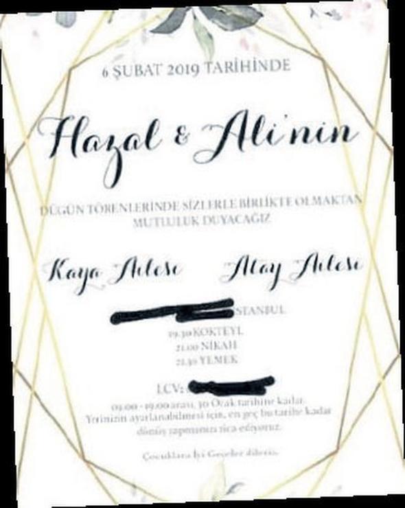 Hazal Kaya ile Ali Atay evleniyor ! İşte düğün davetiyesi