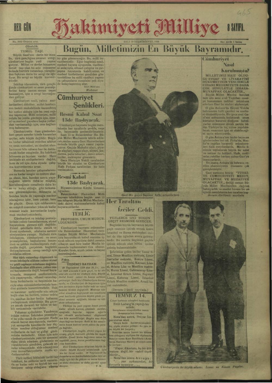 Arşivden çıkan Cumhuriyet Bayramı manşetleri