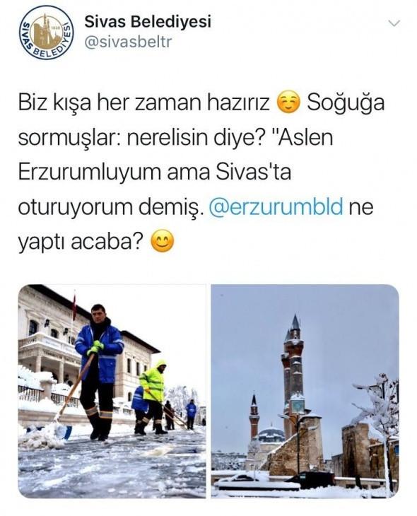 Belediyelerin sosyal medya hesaplarında gülümseten kar diyaloğu