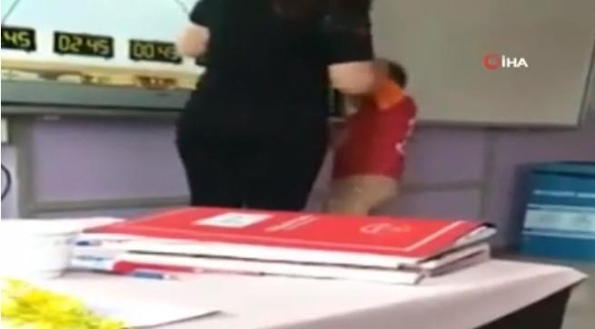 Kadın öğretmenden ilkokulda dayak kamerada !