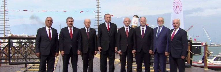 19 Mayıs töreninde liderlerden birlik pozu
