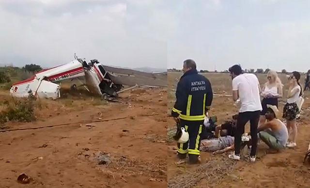 Antalya'da uçak düştü: 2 ölü, 1 yaralı