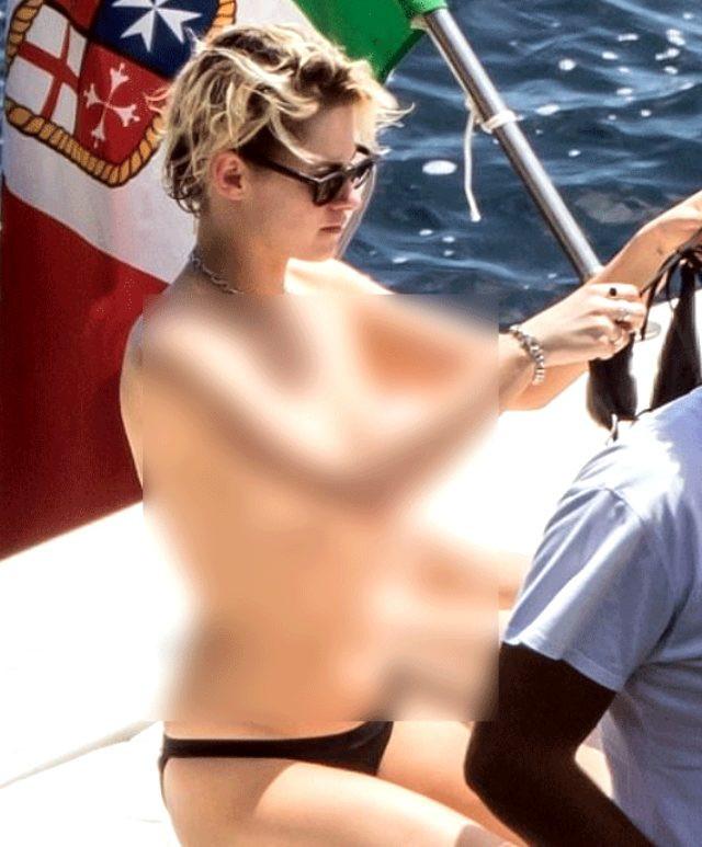 Kristen Stewart, üstsüz güneşlenirken görüntülendi