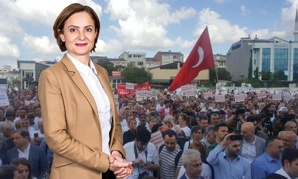 Binlerce kişi Canan Kaftancıoğlu için adliye önünde