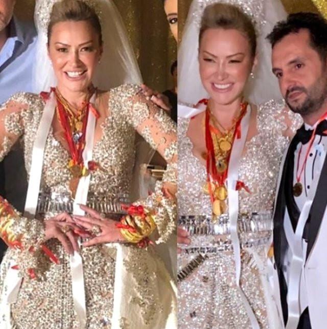 Volkan Aslan'la evlenen Aylin Coşkun'a kilolarca altın takıldı
