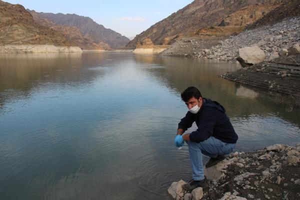 Baraj gölü yüzeyinde kümeleşen balıklar şaşırttı