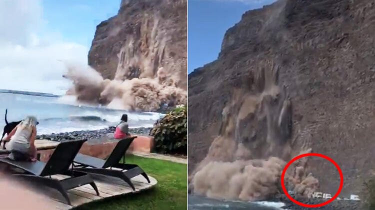 Adada kopan kaya kütlesinin çökme anı kamerada