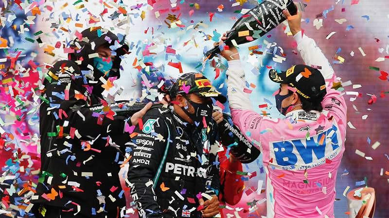 Formula 1'in ödül töreninde şampanya yerine bakın ne patlattılar