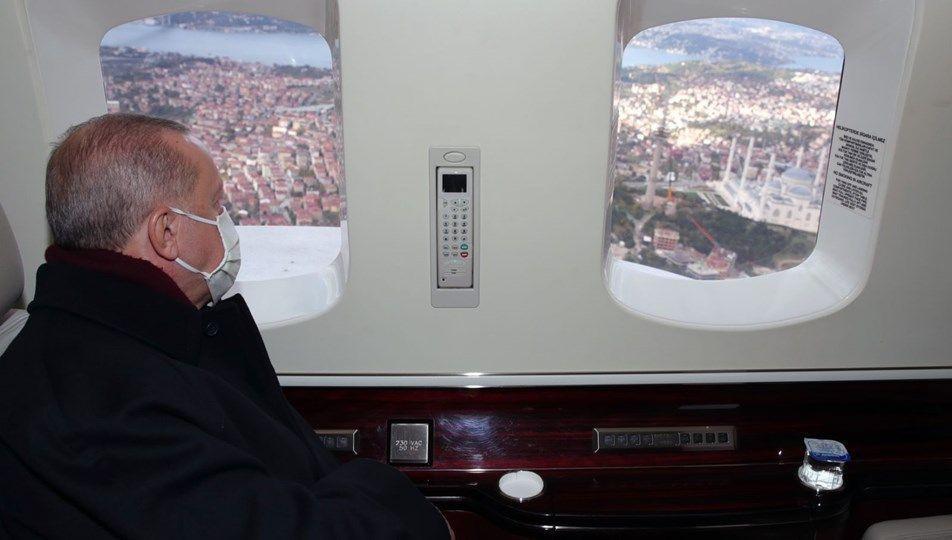 Erdoğan, Çamlıca tepesindeki çalışmaları havadan inceledi