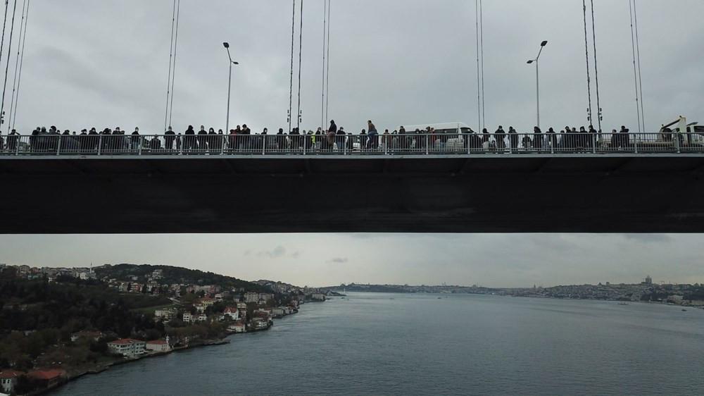 15 Temmuz Şehitler Köprüsü'nde eylem! Haklarını isteyen işçiler intihara kalkıştı