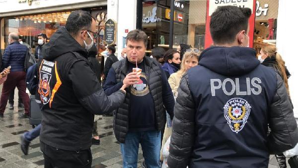Taksim'de maske denetimi: İçecek içmek bile yasak!