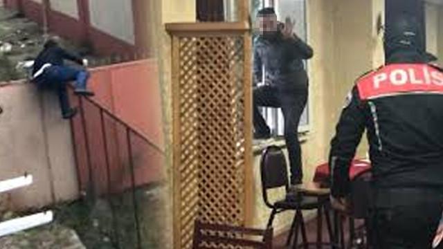 Polisi görünce pencereden atlayıp, düz duvara tırmandılar