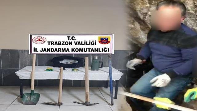 Trabzon'da kaçak kazı yapan 3 kişi yakalandı