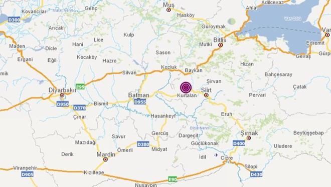Siirt'te 5,0 büyüklüğünde deprem
