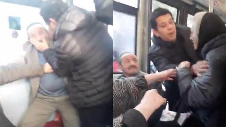 Otobüste iki yaşlı yolcu birbirine girdi