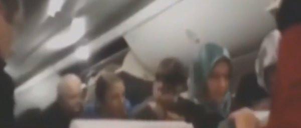 Pistten çıkan uçaktaki panik anları kamerada !