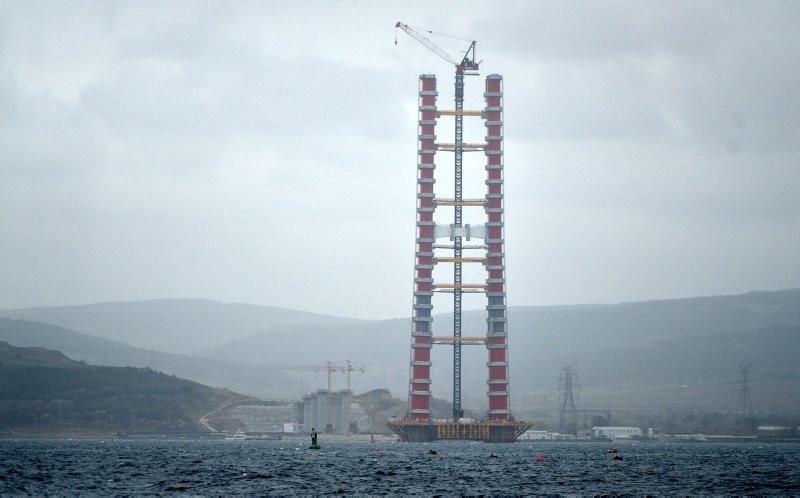 Çanakkale Köprüsü'nün kule yüksekliği 230 metreye ulaştı