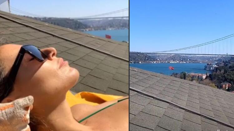 Eda Taşpınar çatıda güneşlendi