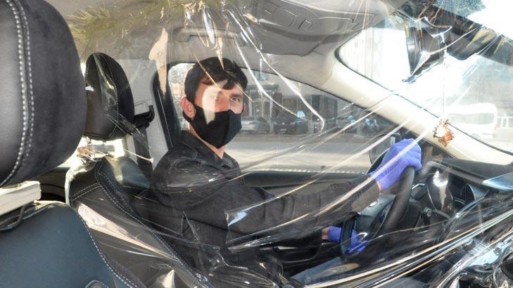 Taksiciden koronavirüse karşı brandalı önlem !