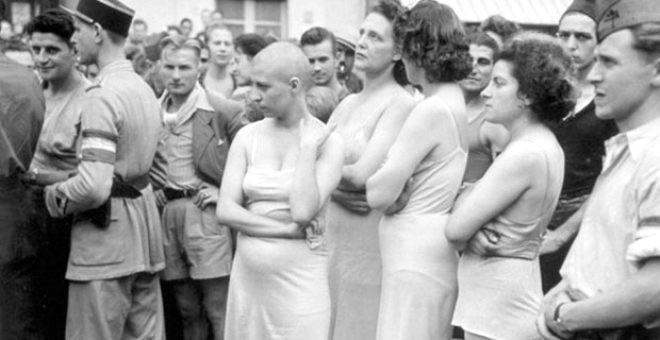 Alman askerlerle cinsel ilişkiye giren kadınların saçları kazıtıldı