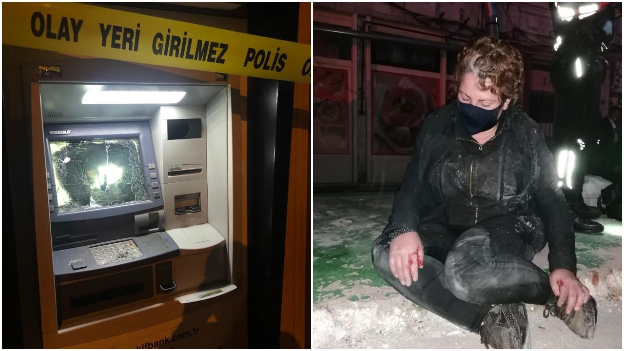 Genç kadın ATM önünde sinir krizi geçirdi!