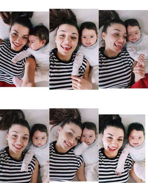 Hande Erçel 4 aylık yeğeniyle pozlarını paylaştı