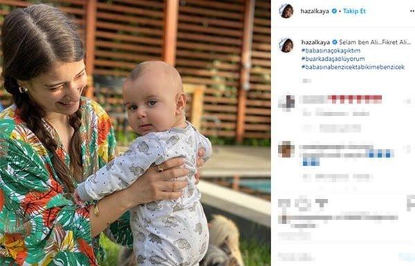 Hazal Kaya oğlu Fikret Ali'nin capslerini paylaştı