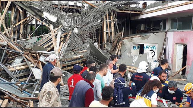 Amasya'da fabrika inşaatında göçük: 4 yaralı