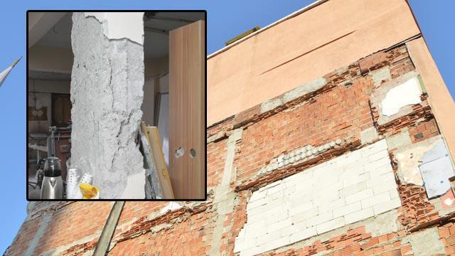 5 katlı binada çökme tehlikesi! İki bina boşaltıdı