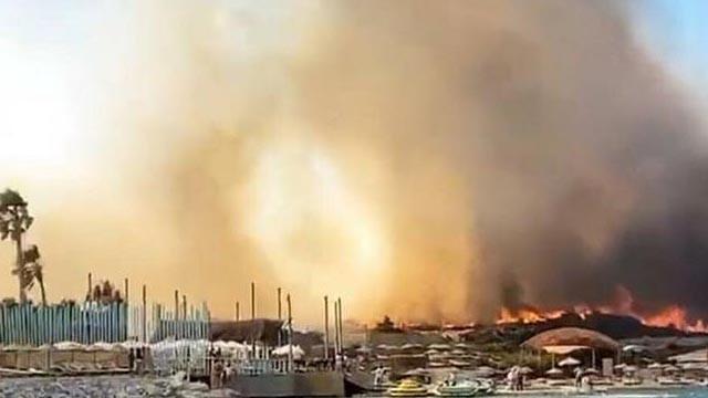 İzmir Alaçatı'da korkutan yangın!