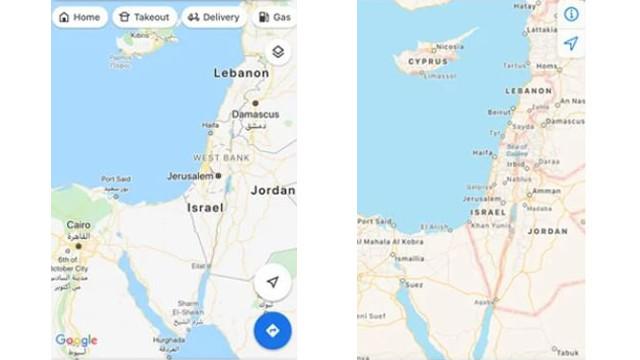 Google ve Apple, Filistin'i haritadan sildi!