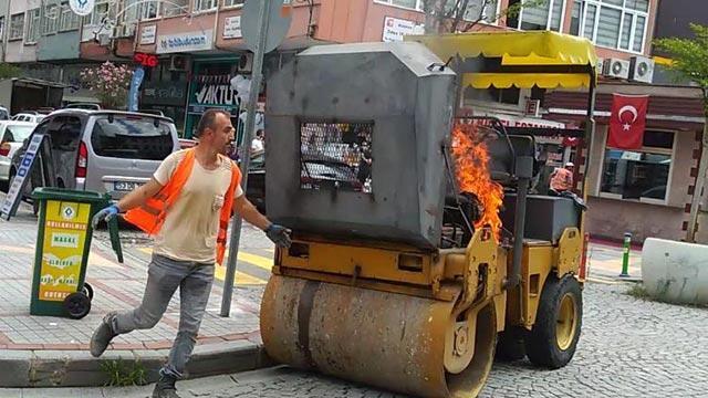 Rize'de iş makinesi alev aldı, operatör böyle isyan etti!