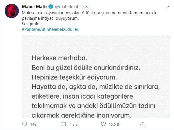 Mabel Matiz'e sansür: ''Konuşmam eksik yayınlandı''