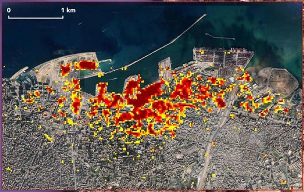 Beyrut'taki patlamanın uydu görüntüleri yayınlandı