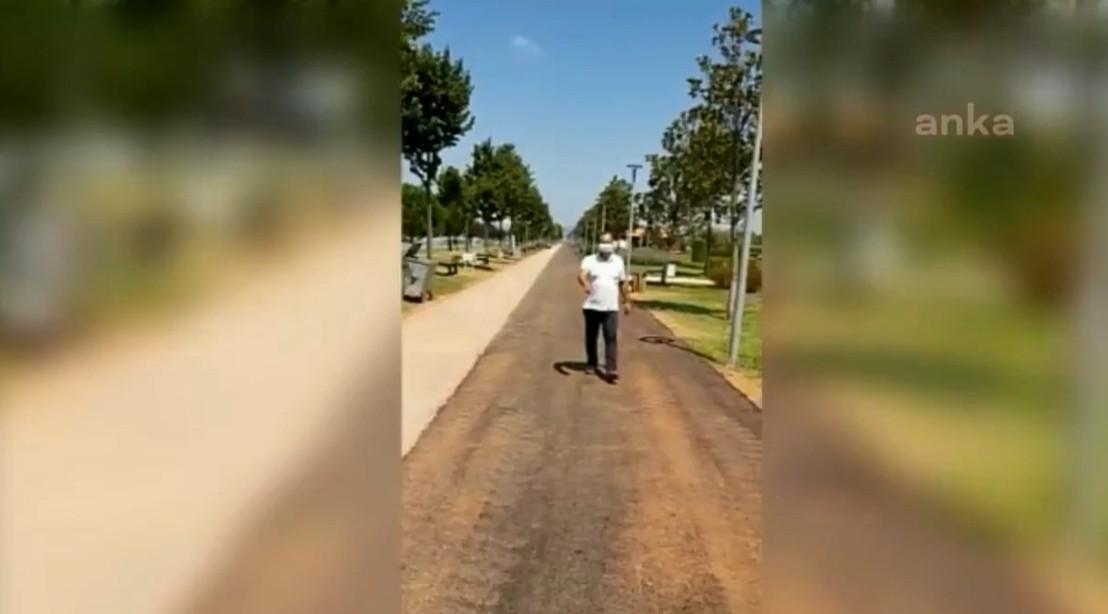 AK Partili belediye yürüyüş yoluna asfalt döktü!