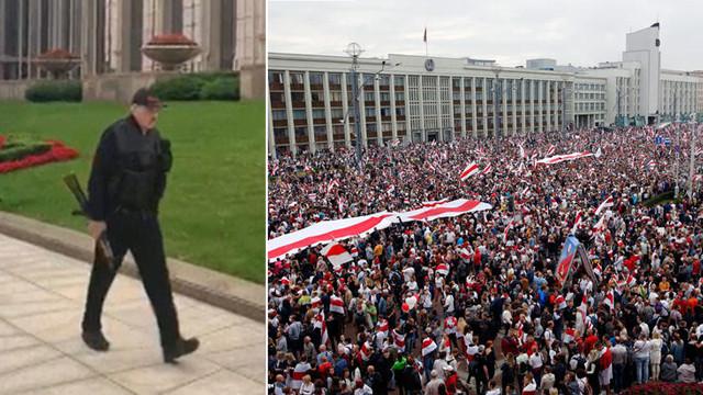 Belarus Cumhurbaşkanı elinde silahla ortaya çıktı