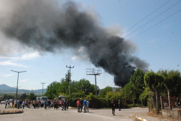 Bartın'da ayakkabı fabrikasında yangın!