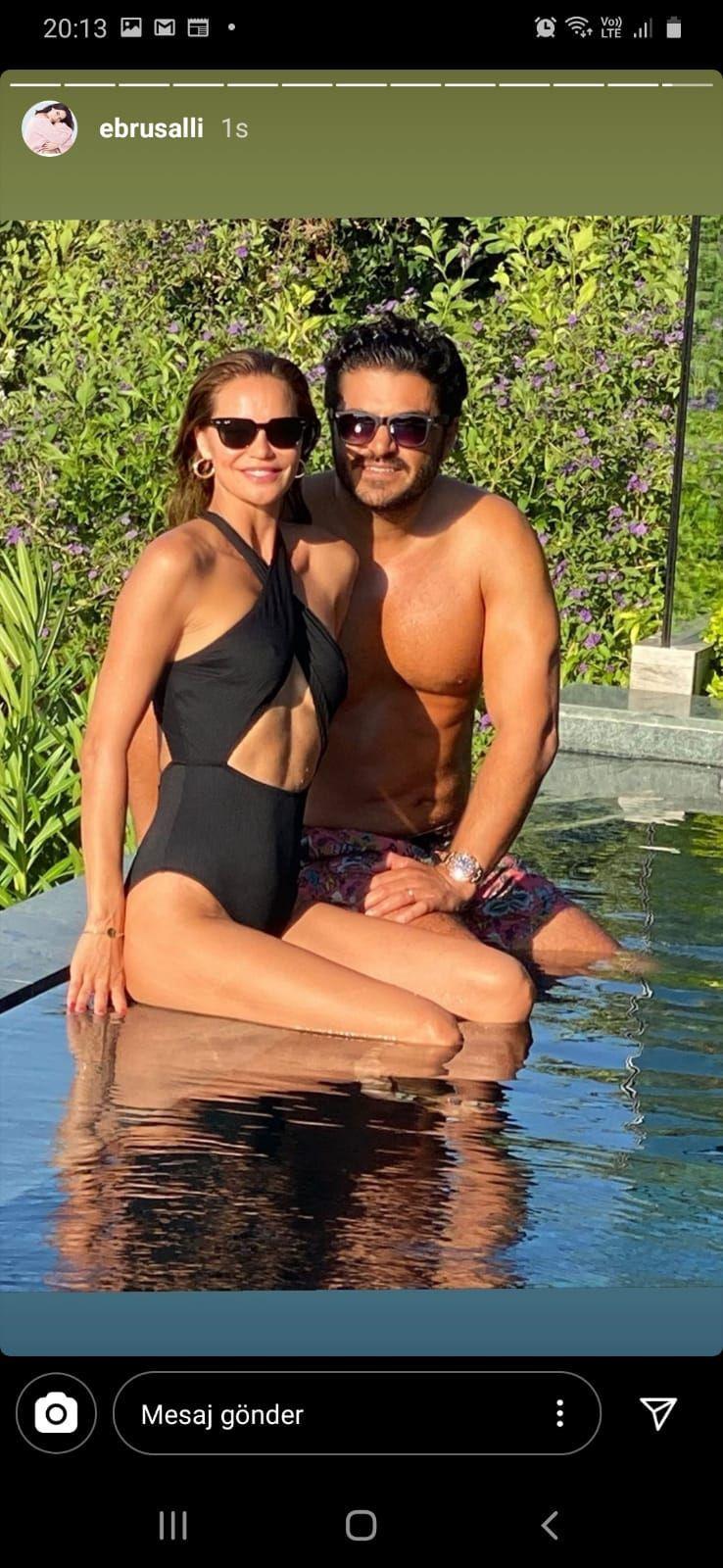 Ebru Şallı'dan eşiyle havuz başında tatil pozu - Resim: 1