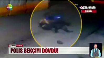 Polis ile bekçinin yumruk yumruğa kavgası kamerada