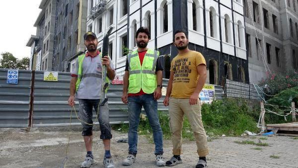 İşçilerden inşaat malzemeli defile...
