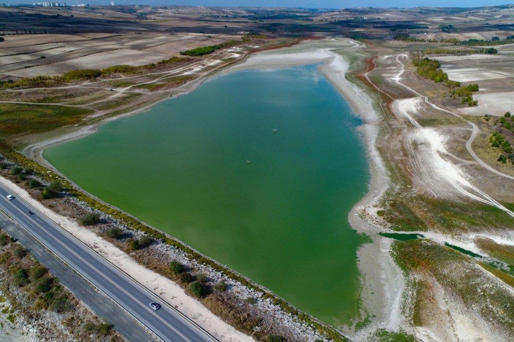 Suların çekildiği Sazlıdere Barajı'nda korkutan görnütü